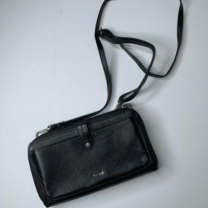 The Sak black leather wallet crossbody purse